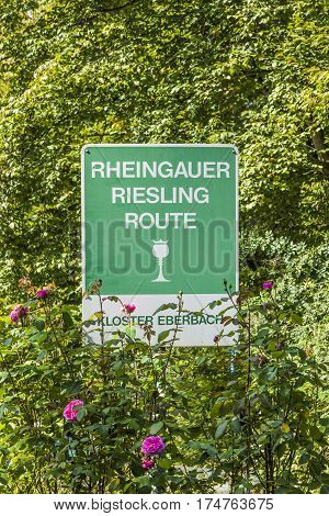ELTVILLE GERMANY - SEP 12 2010: sign Rheingau Riesling Route at the Eberbach cloister. It indicates the famous Wine area.