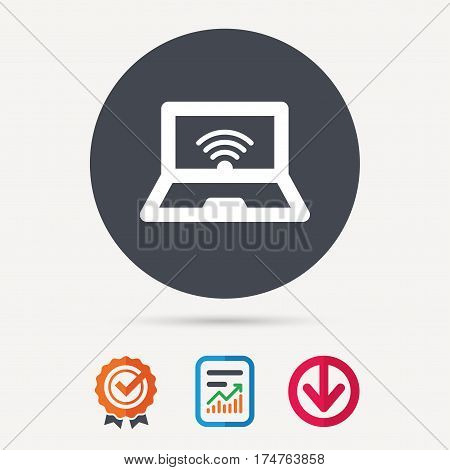 Computer with wifi icon. Notebook or laptop pc symbol. Report document, award medal with tick and new tag signs. Colored flat web icons. Vector