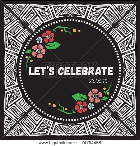 Doodle vector pattern ethnic tribal style frame.Tiki style invitation.