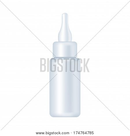 Blank cosmetic package isolated on white background. Tube for cream, shampoo, lotion, emulsion, deodorant, skin oil. nail polish, hear styling mock up vector illustration