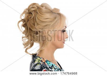 Girl blonde hairstyle model shows in profile