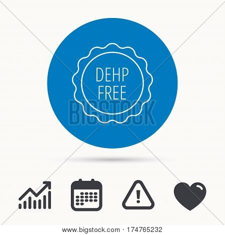DEHP free icon. Non-toxic plastic sign. Calendar, attention sign and growth chart. Button with web icon. Vector
