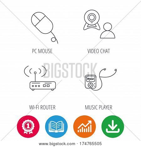 Wi-fi router, video chat and music player icons. PC mouse linear sign. Award medal, growth chart and opened book web icons. Download arrow. Vector