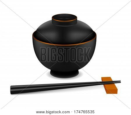 Japanese empty dish in realistic style. Misoshiru dish and chopsticks isolated on white background. Cooking vector illustration collection. Kitchen objects for your design