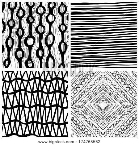 Hand drawn backgrounds black and white colors