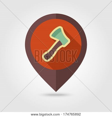 Axe ax hatchet flat vector pin map icon. Map pointer. Map markers. Garden eps 10