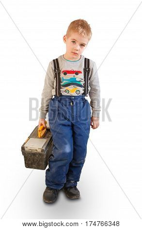 Boy Child With The Building Tool. Isolated On White Background. The Child Worker, The Builder. Holds