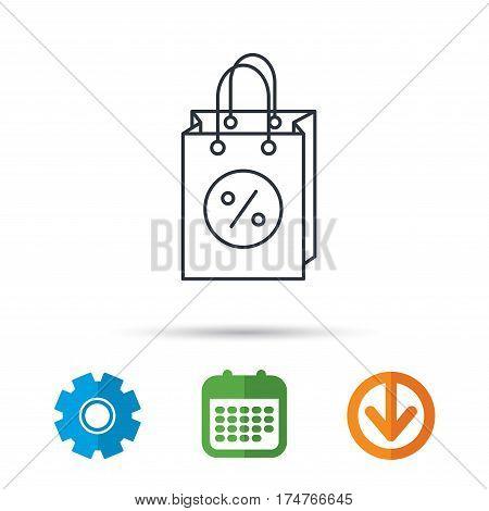 Shopping bag icon. Sale and discounts sign. Supermarket handbag symbol. Calendar, cogwheel and download arrow signs. Colored flat web icons. Vector