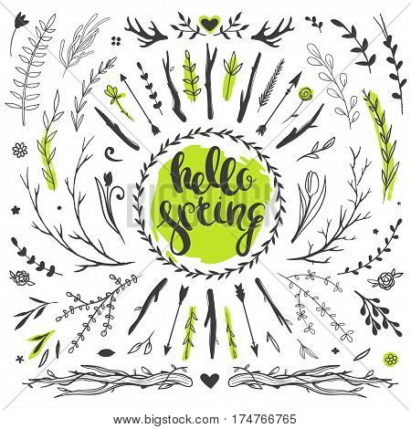 Set of vector rustic floral doodles. Spring flowers and leaves. Hello spring. Hand drawn vector lettering.