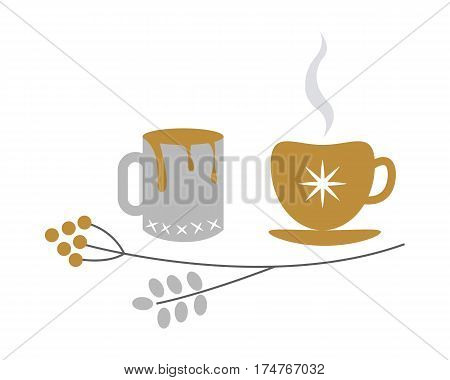Silver and golden xmas decorated tea and coffee cups with hot drink inside and branch with round fetuses near. Vector illustration of traditional things to warm up and brighten mood in cartoon style