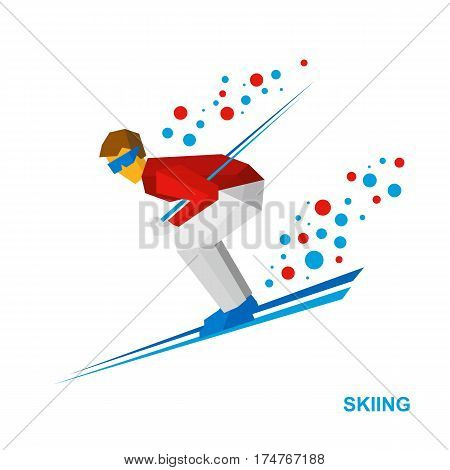 Skiing. Cartoon Skier In White And Red Running Downhill.