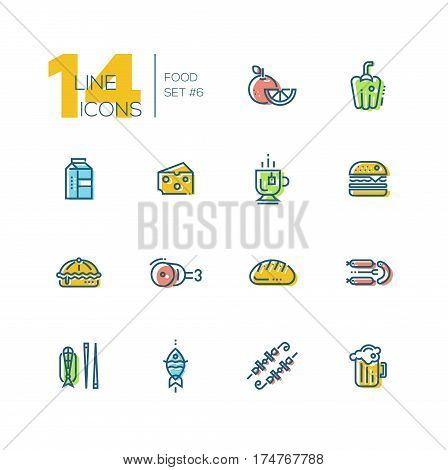 Kinds of Food - set of modern vector thick line icons with accent color. Orange, pepper, milk, cheese, tea, hamburger, meat, pie bread sausages fish kebab beer. Material design concept symbols