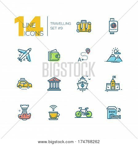 Traveling - modern vector thick line design icons set with accent color. Suitcase, passport, plane, wallet, route, mountains, car museum ship castle digital camera cup bicycle hotel. Material design concept symbols