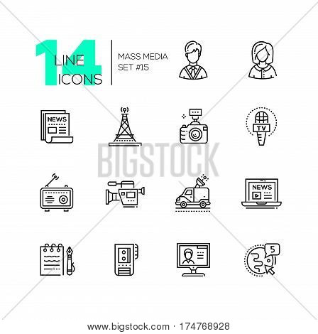 Mass media - vector modern single line icons set. Man, woman, newspaper, camera, microphone, radio, camcorder, laptop, notepad, pen, recorder, monitor, globe, car.