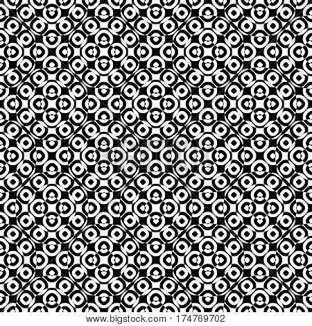 Vector monochrome seamless texture, specular geometric pattern, repeat tiles. Black & white overlay circles. Illusive optical effect. Design element for tileable print, decoration, textile, digital, cover
