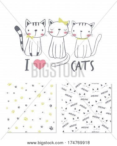 I love cats. Surface design and 2 seamless patterns. T-shirt graphic for kid's clothing. Use for print design surface design fashion kids wear