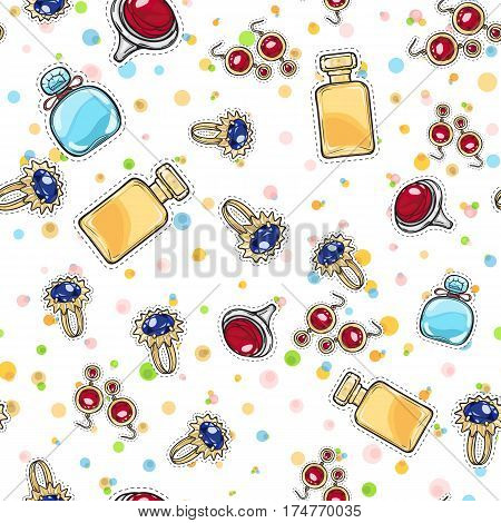 Jewelry for women. Elite Perfume. Seamless pattern. Gold earrings with red stone. Elegant earrings. Silver ring with round red rock. Gold ring with blue stone. Decorations. Cartoon style. Vector.