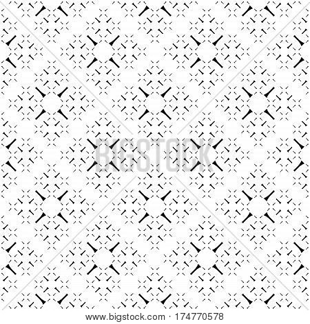 Vector seamless pattern, simple monochrome geometric texture. Diagonal thin lines, repeat tiles, tiny crosses. Abstract black & white background. Stylish design for decoration, digital, web, textile, fabric