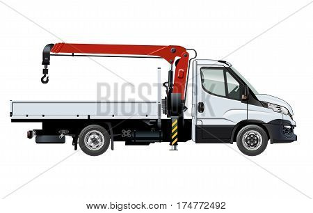 Vector crane truck template isolated on white. Available EPS-10 separated by groups and layers with transparecy effects for one-click repaint