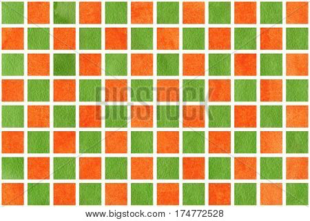 Watercolor Orange And Green Squares
