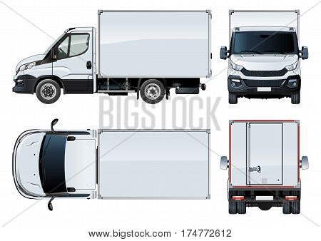 Vector truck template isolated on white. Available EPS-10 separated by groups and layers with transparecy effects for one-click repaint
