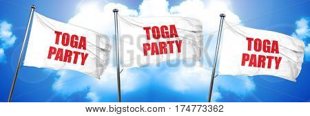 toga party, 3D rendering, triple flags