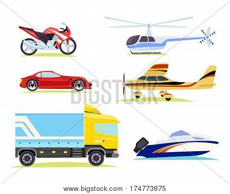 Collection of different means of transportation in cartoon style. Motorbike and automobile, car truck with helicopter near plane. Motorboat transport sale of speed kinds of vehicles in flat design