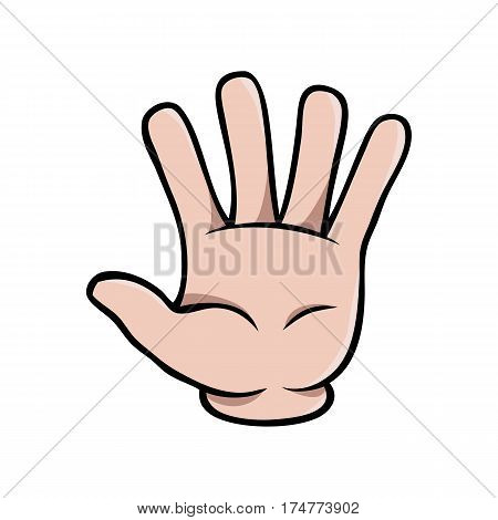 Human cartoon hand showing five fingers or a waving gesture