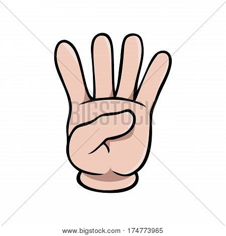 Human cartoon hand showing four fingers or the number 4