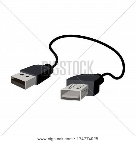 USB cable icon in cartoon design isolated on white background. Personal computer accessories symbol stock vector illustration.