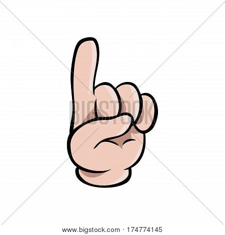 Human cartoon hand showing one finger or pointing upwards