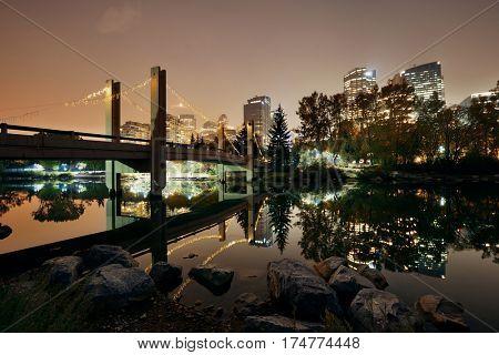 Calgary Prince's Island at night, Canada.