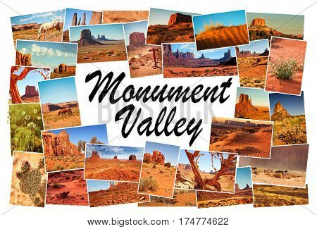 Collage of images from famous location in Monument Valley, Arizona, USA with word Monument Valley in the middle on white background