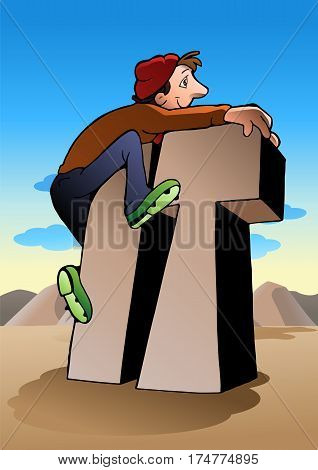 illustration of a climbing man reaches top of it on nature background