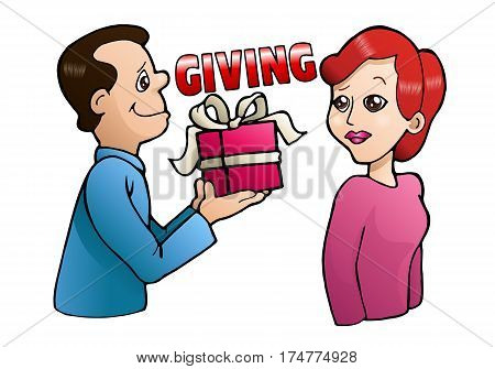 illustration of a girl happy gets present from a boy offering gift on isolated white background