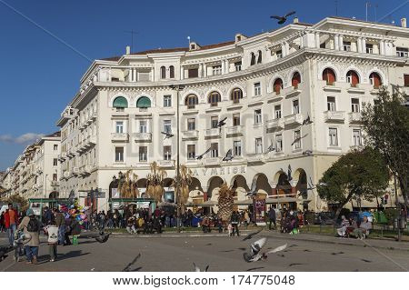 Thessaloniki, Greece - March 04 2016: Aristotelous square day view. Aristotelous main square day view with birds flying, on a sunny day.