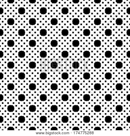 Vector seamless pattern, simple geometric texture, black figures on white backdrop, polka dot illustration with rounded octagons. Abstract repeat background for tileable print. Design for decoration, fabric, cloth, textile, digital, web