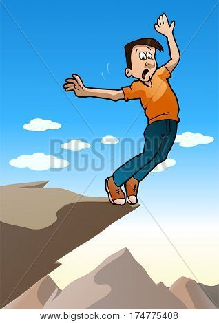 illustration of an adult man afraid on the edge of a cliff on nature background