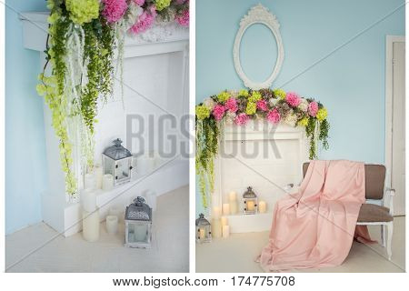 Fireplace decorated with flowers and candles. Beige couch by the fireplace decorated with light pink blanket. Collage
