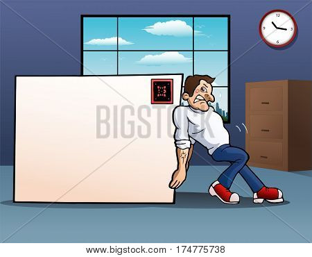 illustration of a man pushing blank big envelope in office background