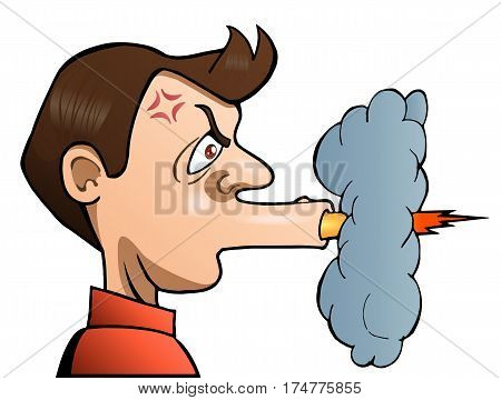 illustration of a angry man shooting his mouth off on isolated white background