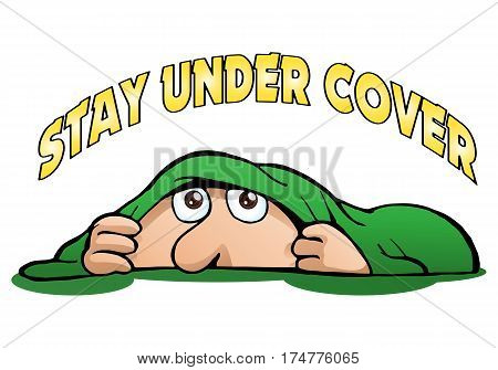 cartoon illustration of a man stay under cover playing hide and seek game on isolated white background
