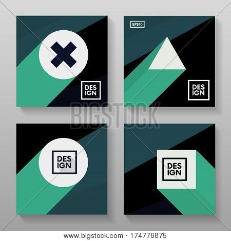 Minimalistic Flat Posters With Motion Shapes. Retro Stylized Backdrops Set.