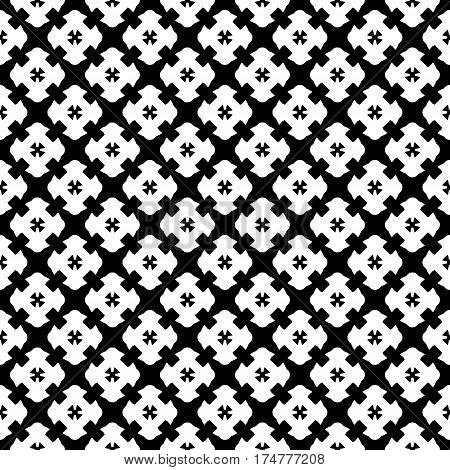 Vector monochrome seamless pattern, simple black & white repeat geometric texture, endless mosaic backdrop, retro gothic style. Abstract dark ornamental background. Design for decoration, prints, textile, stationery, linens, fabric, cloth