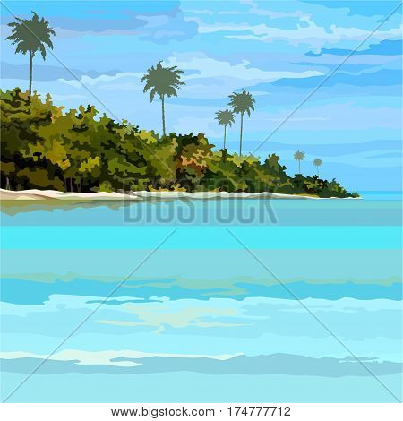 drawn background tropical blue sea-coast  with palm