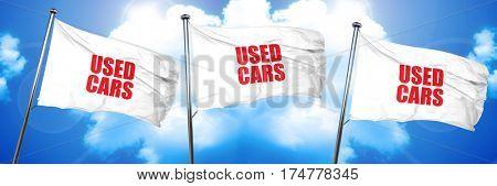 used cars, 3D rendering, triple flags