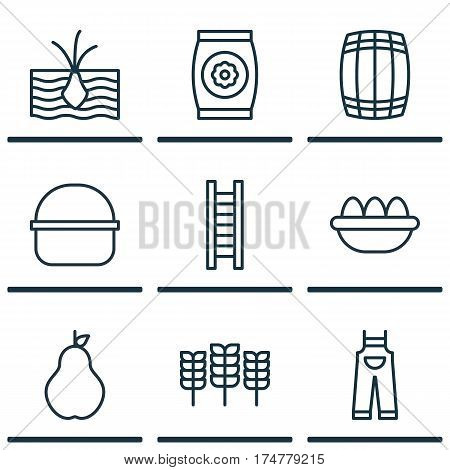 Set Of 9 Holticulture Icons. Includes Growing Plant, Duchess, Ovum And Other Symbols. Beautiful Design Elements.