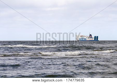 SWINOUJSCIE POLAND - FEBRUARY 21 2017: A car ferry from Polferry starting its journey over the Baltic Sea.