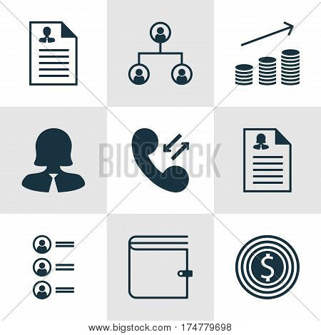 Set Of 9 Management Icons. Includes Female Application, Job Applicants, Business Goal And Other Symbols. Beautiful Design Elements.