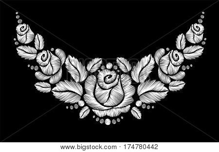 White Roses Embroidery On Black Background.